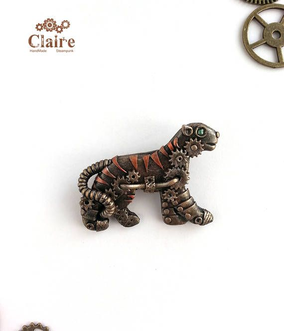 Steampunk Brooch Tiger. Steampunk jewelry. Bronze brooch.