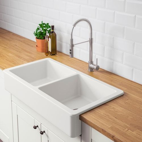 Havsen Apron Front Sink White Ikea Double Bowl Sink Apron Front Sink Kitchen Remodel Double bowl apron front sink