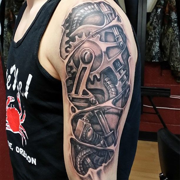 Mechanical Forearm With Cogs  Best Tattoo Design Ideas