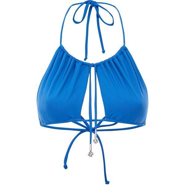 La Perla Beach Glaze Lake Blue Triangle Bikini Top ($165) ❤ liked on Polyvore featuring swimwear, bikinis, bikini tops, blue triangle bikini, tankini tops, halter bikini, halter swimsuit tops and triangle bikini top