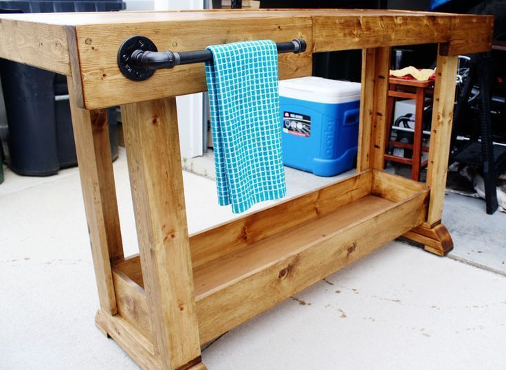 Diy pottery barn console table workbenches love and for Diy barn table