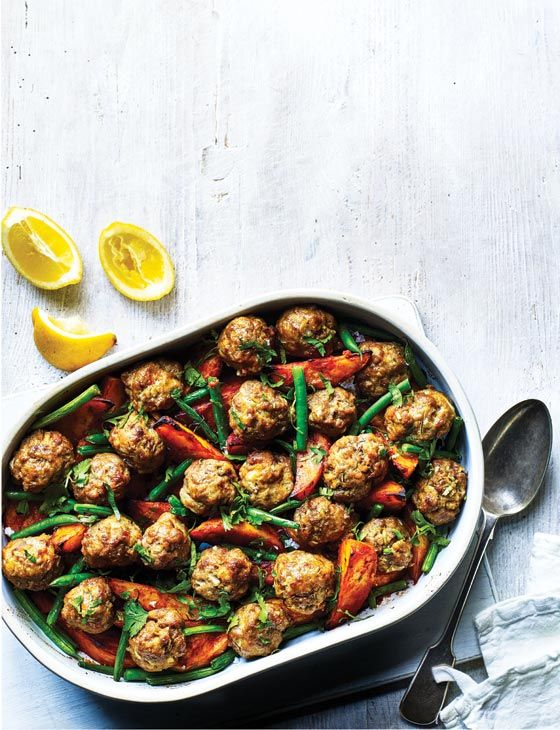 Portuguese meatball and potato traybake - feed four for under a fiver with this budget supper recipe that's packed with smoky flavours.