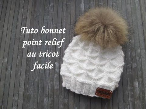TUTO BONNET POINT RELIEF TRICOT Beanie hat relief knitting GORRO PUNTO RELIEVE DOS AGUJAS - YouTube