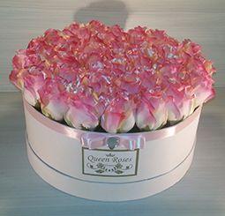 QM161/ Queen Roses rózsaszín selyemrózsa rózsadoboz nagy