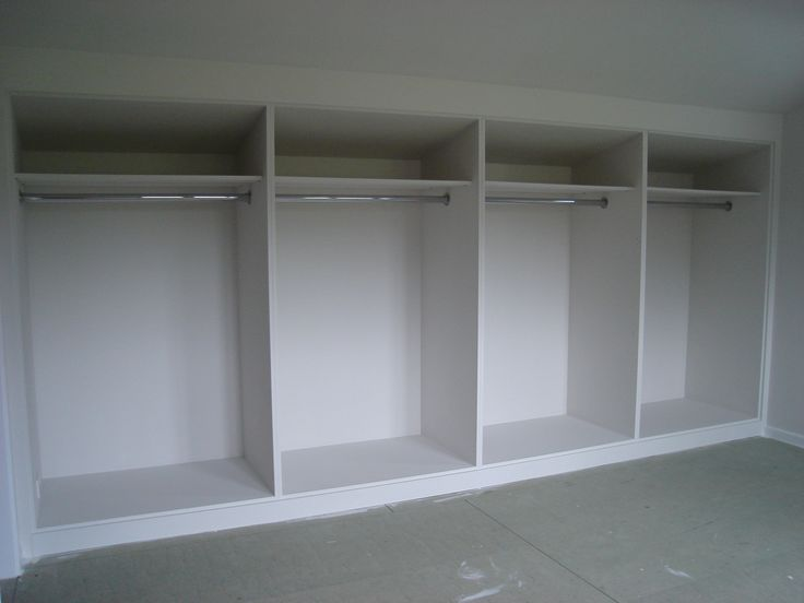 Cool White 4 Tier Built In Wardrobe For Walk In Closet Ideas With Simple Models As Well As Chrome Clothes Bar Inside As Inspiring Wardrobe Designs