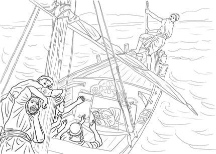 jesus asleep in boat coloring pages Jesus Sleeping in