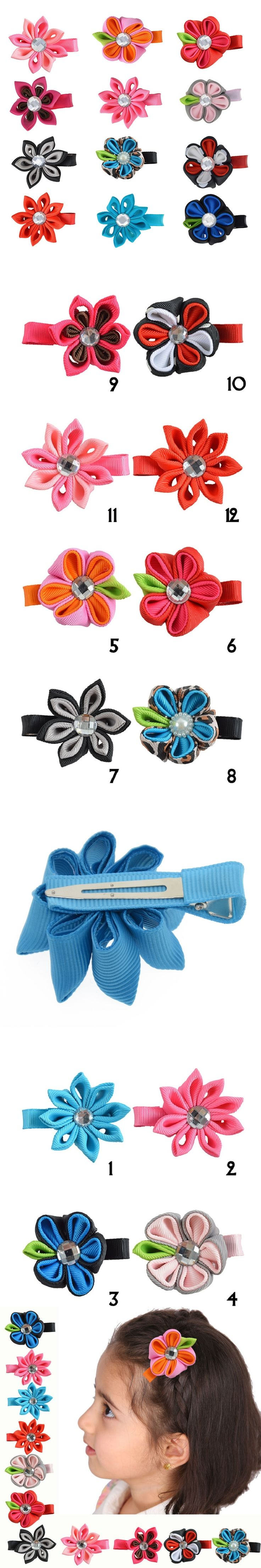"12PCS 2-2.5"" Hair Clip For Girls Kids Cute Flower Hair bows With Alligator Clip Ribbon Hairpin Unique Hair Accessories XCA005"