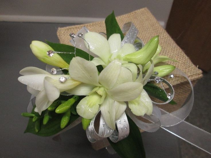 White & Silver Orchid Corsage Petalessence Flowers, Listowel, Ontario