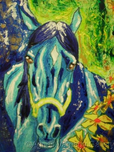 Blue horse by Agnes Varnagy Gallery