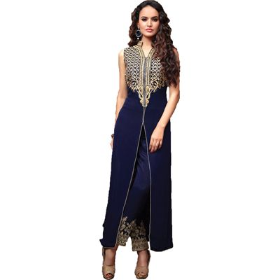 Buy Louis Vogue Blue Georgette Semi Stitched Suit by LOUIS  VOGUE, on Paytm, Price: Rs.1099?utm_medium=pintrest