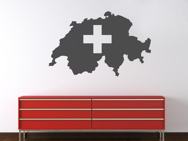 Schweiz Landkarte | Tolle Dekoration für Schweizer: Die Silhouette gibt es als Wandtattoo in drei Größen und vielen Farben, natürlich auch in Rot.