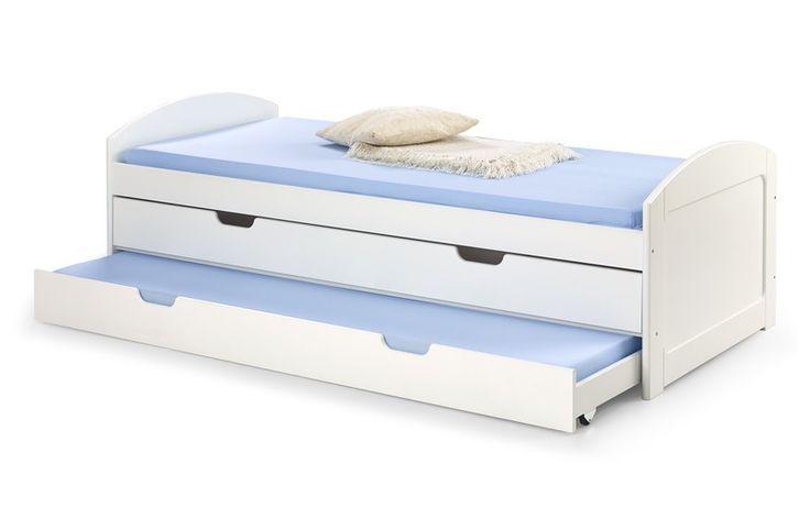 LAGUNA łóżko biały łóżko dwuosobowe z wysuwanym dolnym materacem i pojemnikiem na pościel,