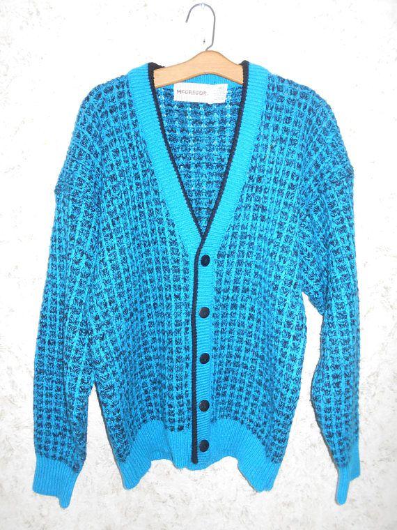 Retro 80s Mens Cardigan Sweater Blue Colorful Unisex Urban