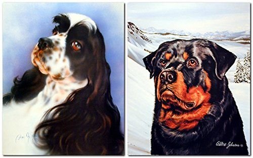 English Springer Spaniel And Wild Rottweiler Dog Two Set ... http://a.co/dlztHQ2