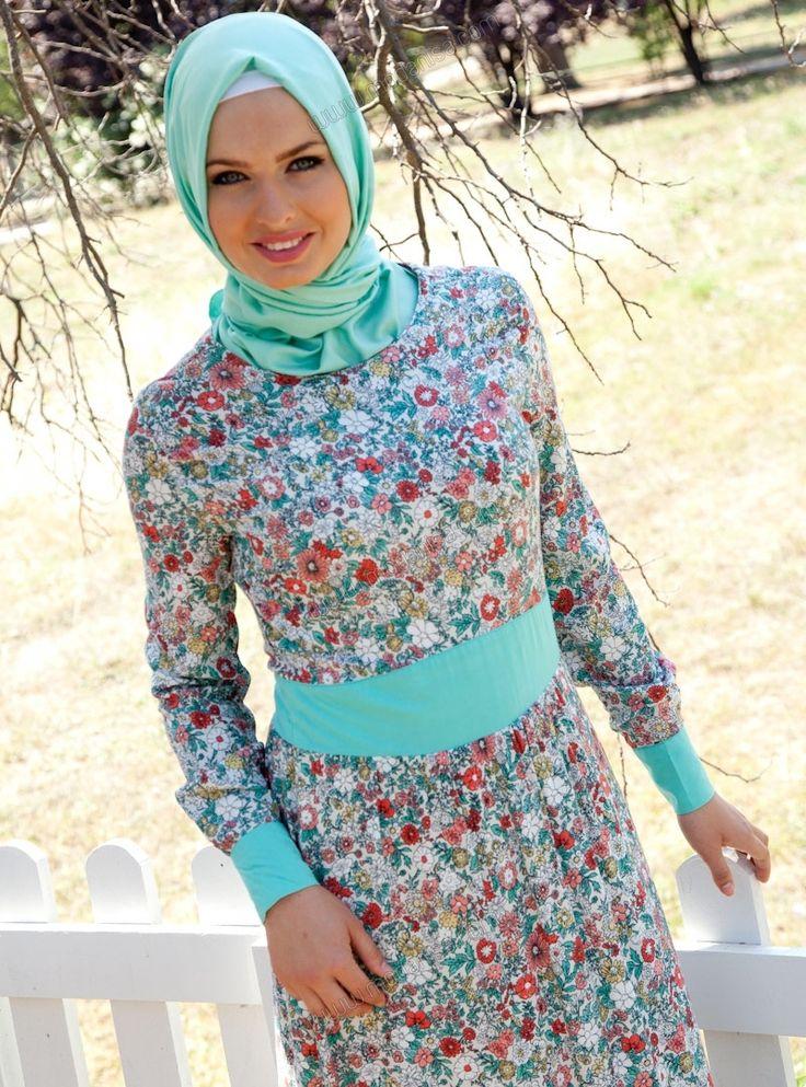 Çiçek Desenli Elbise - 5147 - Mint Yeşili - Tavin