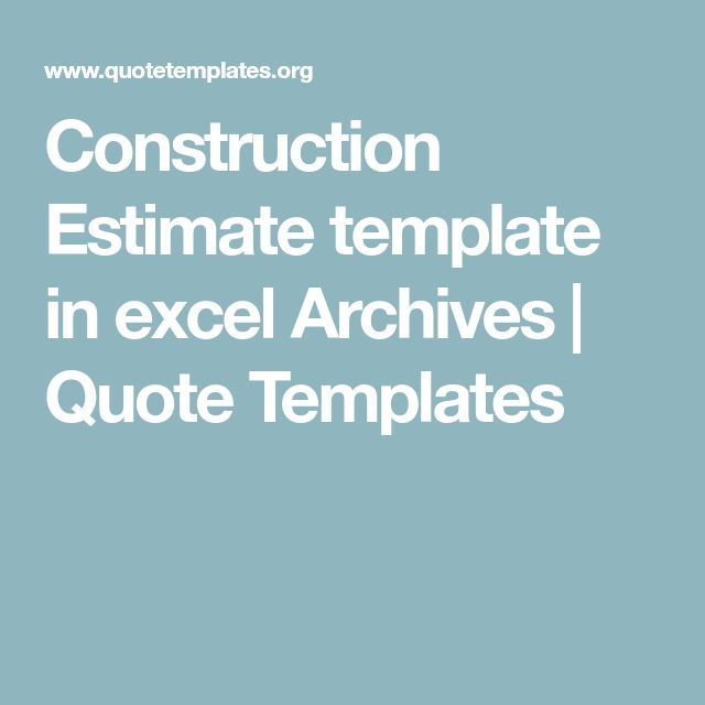 Construction Estimate template in excel Archives | Quote Templates