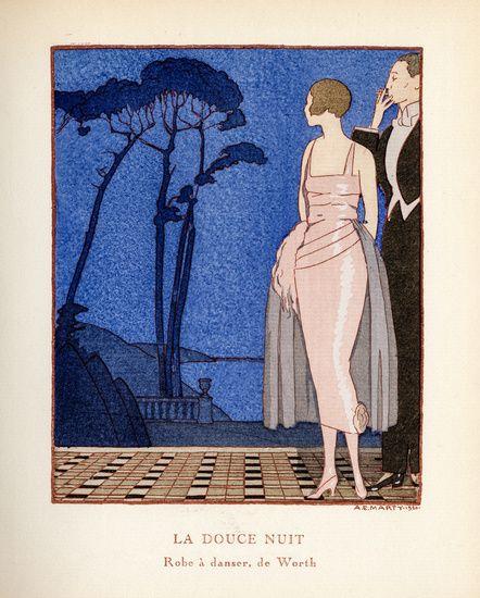 Vintage tijdschrift cover van Gazette Bon Ton, La Douce Nuit door André Marty