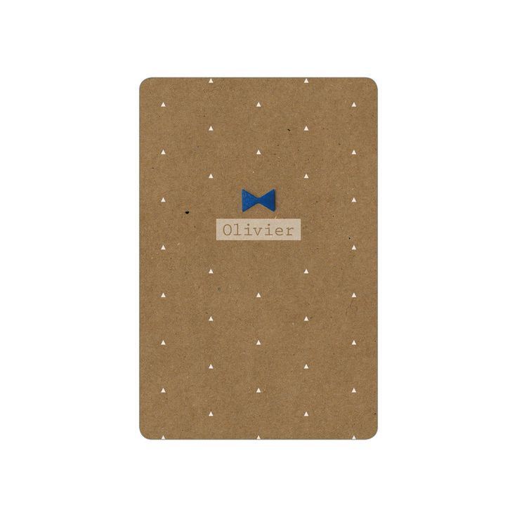 Stoer geboortjekaartje op karton_houten strik_jeans blauw_wit #www.studiokuuk.nl