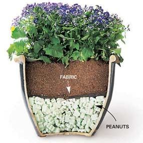 Big outdoor planters are a great way to display flowers, but moving them is backbreaking. Here's a simple way to cut the weight in half, with packing peanuts and improve drainage at the same time.