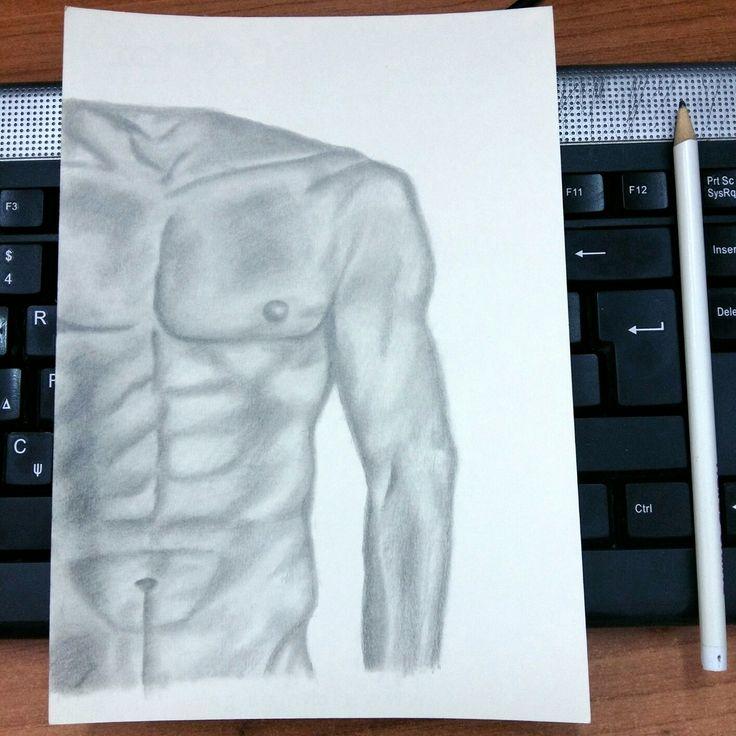 Body art. Pencil drawing