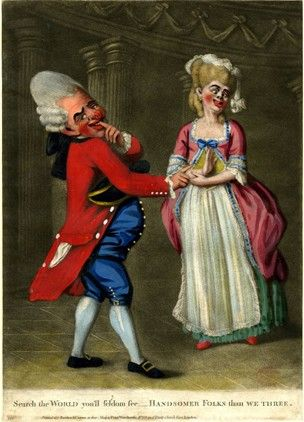 "Source: British Museum  Year: 1775  Image of an ""ugly"" couple dressed up as macaroni's. The male seems to be wearing womans makeup."