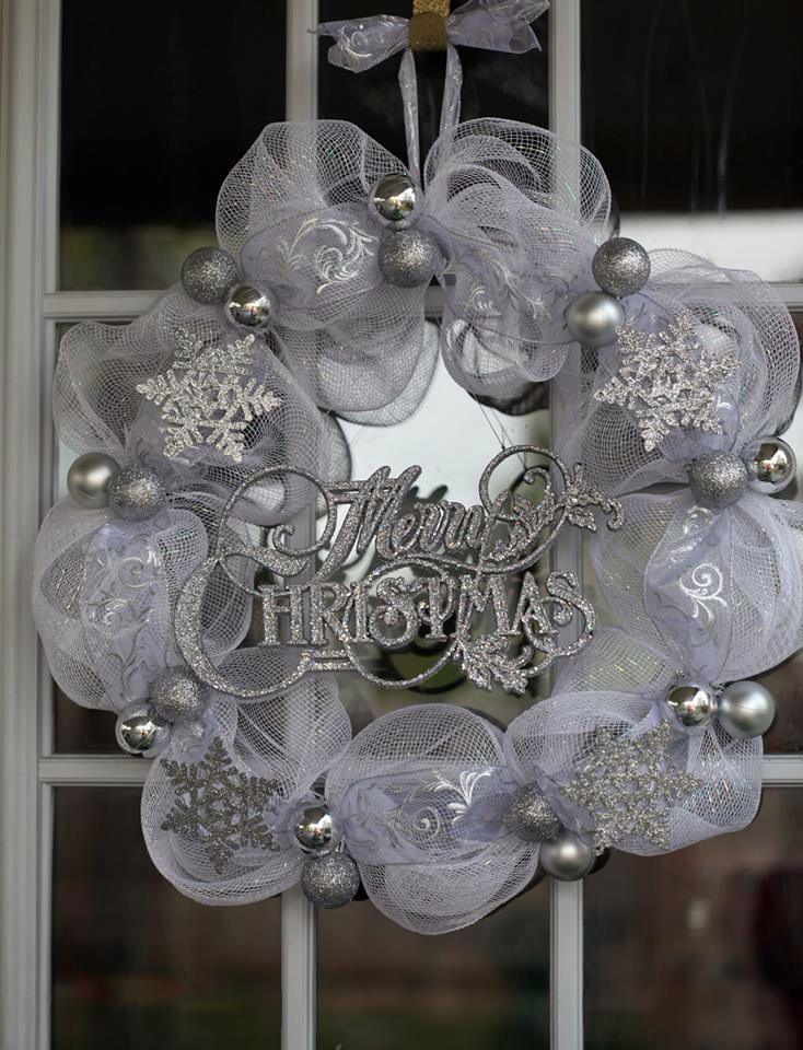 Silver Merry Christmas Deco Mesh Wreath. www.facebook.com/virgiestreasures