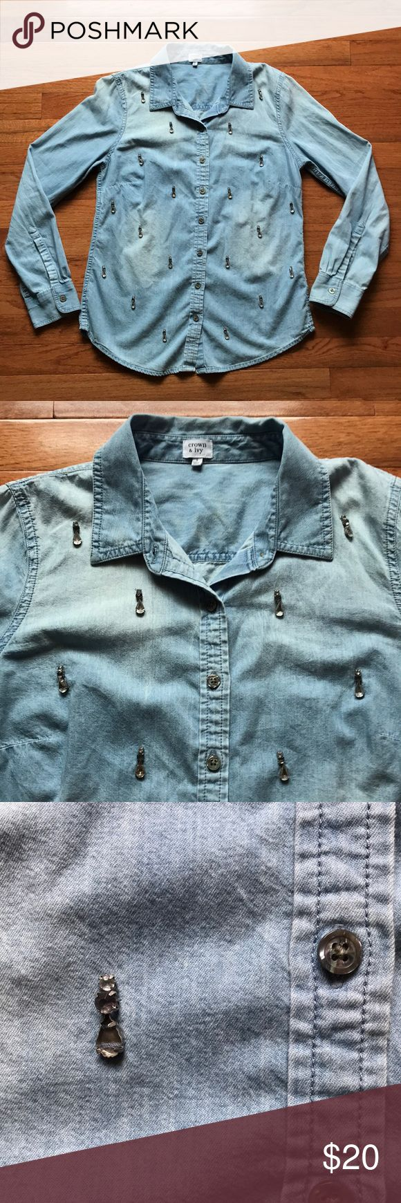 Crown & Ivy Denim Jeweled Beaded Shirt This is a soft denim long sleeve button up top from Crown and Ivy. Purchased at Belk. It features a three gem Beaded pattern throughout the front. Not missing any buttons. The gems are light gray, medium gray, and black. There are two gems missing, pictured above, they aren't noticeable when worn because they are so small and the thing that holds them is the same color. Great for all seasons! Check out other items to bundle with this! Always open to…