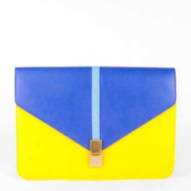 Yellow blue envelope clutch