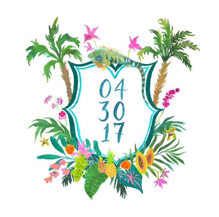 Hand Drawn Custom Crest - Monogram, palms, heraldry, tropical, jungle, banana leaf, iguana, mexico, beach, pacific, destination, tulum, wild by KarliStrohscheinArt on Etsy https://www.etsy.com/listing/500660048/hand-drawn-custom-crest-monogram-palms