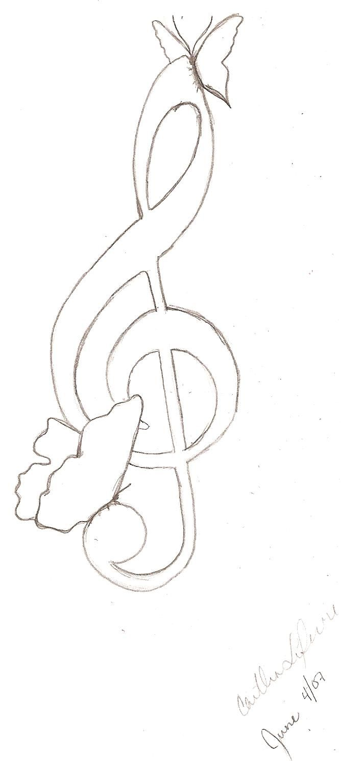 Treble Clef with butterflies