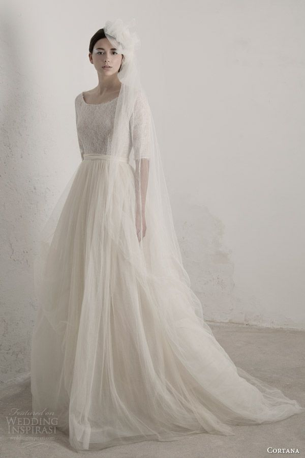 cortana #bridal 2015 matilda #wedding dress with half sleeves #weddings #weddingdresses #weddingdress More at http://weddinginspirasi.com/2014/07/10/cortana-bridal-2015-wedding-dresses/