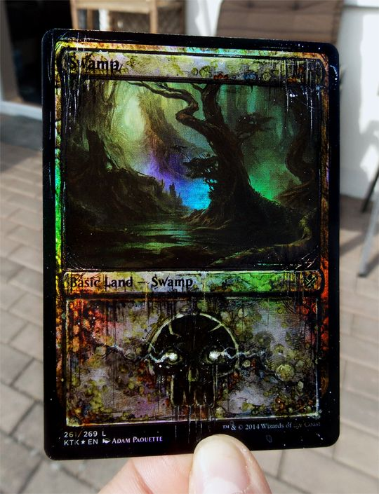 Some distressed and very shiny foil lands I did inbetween commissions for practice and testing out different effects. These are for sale for 26€ / 28USD each, shipping anywhere included. For more info contact Cereal Alters