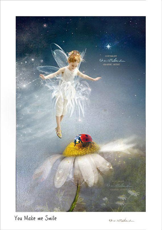 Fine art Fairy Print    ' You Make me Smile'  Flower and  garden faires