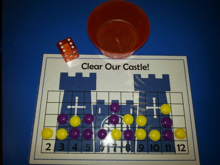 New game in our class; Clear Our Castle! Each player has 10 counters, and places them on the numbers they predict will be rolled. Roll the 'dice in dice', add the two numbers, and see if you have a counter on the total, if so you may remove it, if not, play passes to the other player. First to clear all their counters wins! We ask the children to tell their partner the calculation strategy they used; counting the dots, doubling, 1 more than, counting on from the highest number, just knew it…