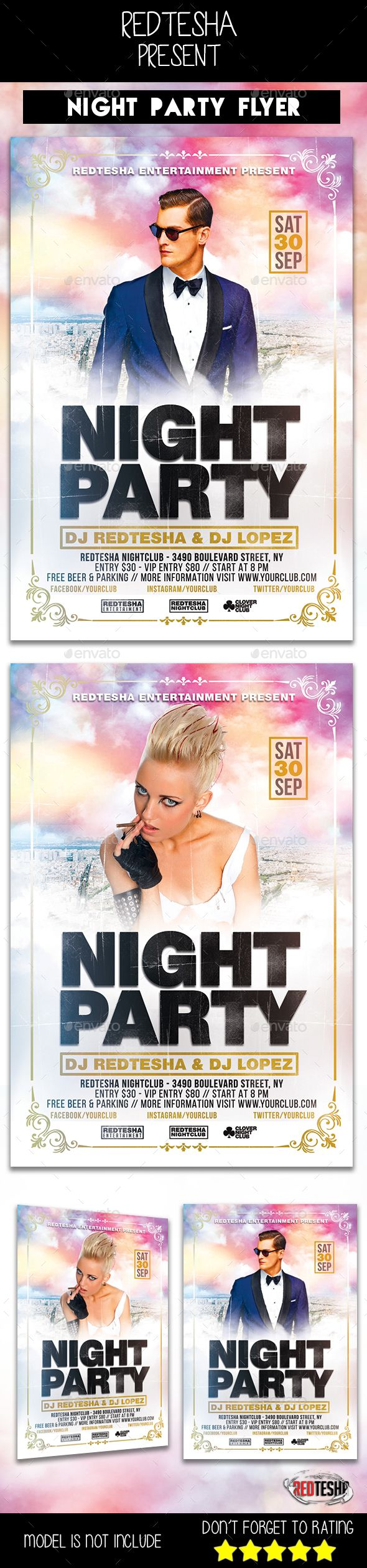 #Night Club #Flyer - Clubs & Parties #Events Download here: https://graphicriver.net/item/night-club-flyer/19531409?ref=alena994