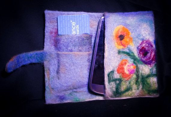 Needle Felted Cell Phone Case, Small Wallet, 35 $