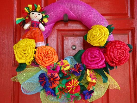 Fiesta Wreath by SweetPeainLa on Etsy, $60.00