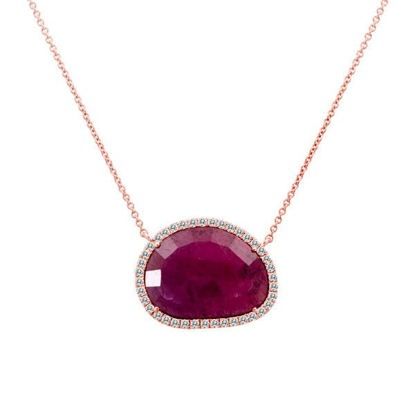 Meira T Rough Cut Ruby Slice Necklace with a Halo of White Diamonds – Meira T Boutique
