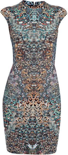 Alexander Mcqueen England Feather Print Dress