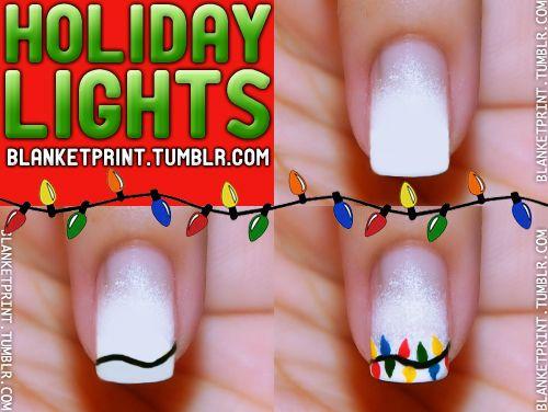 Blanket Print Nail - Christmas Lights
