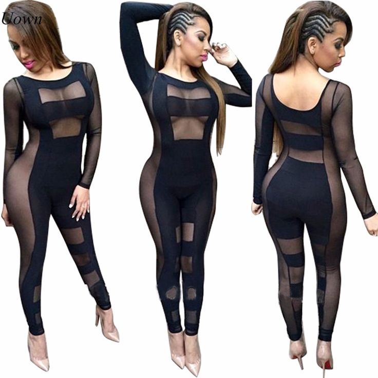 Sexy Black Jumpsuits Women Mesh Party Bodycon Rompers Long Sleeve See Through Bodysuit Clubwear Casual Jumpsuit for Ladies