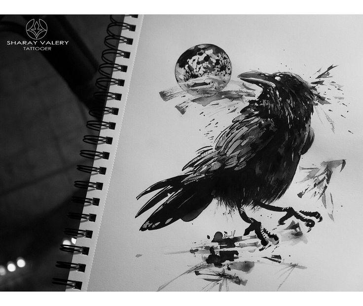 Black sumi for tattoo. Raven, moon, branch. #valerysharay