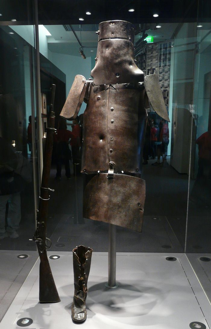 Australian bushranger and outlaw Ned Kelly's original, full set of homemade plate armor.