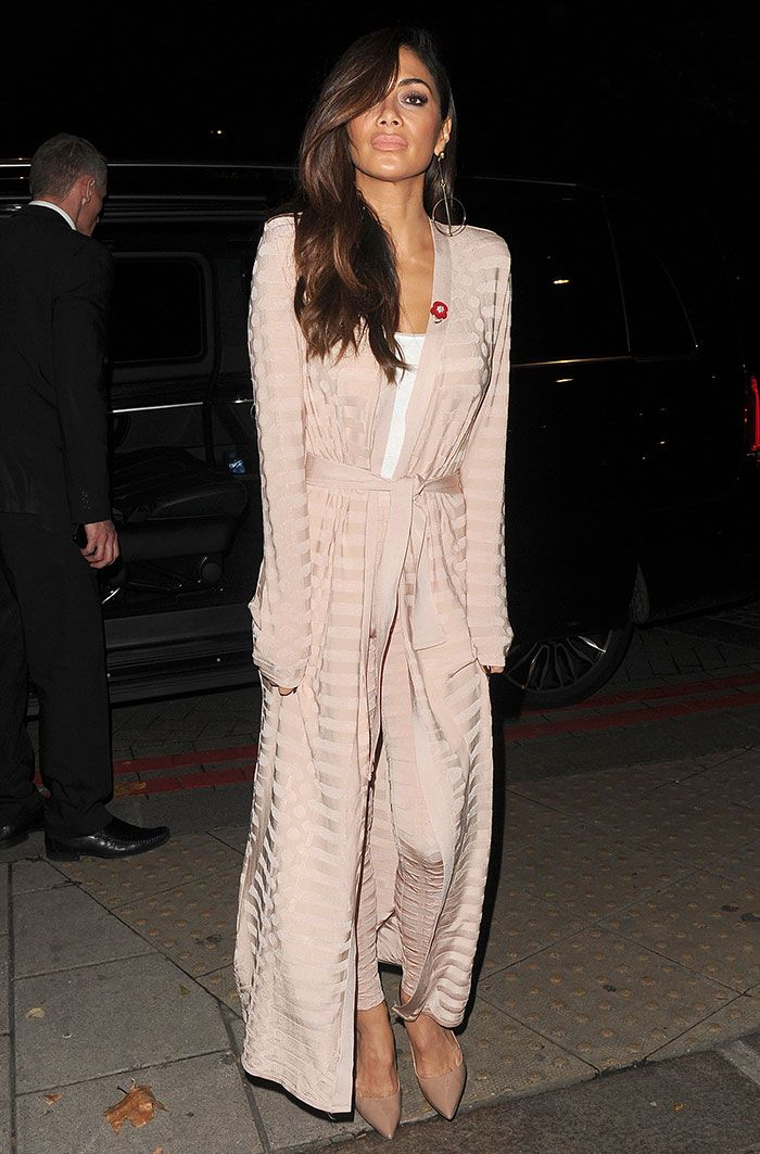 Nicole Scherzinger in Balmain coat and pants