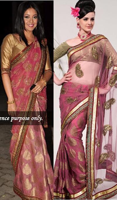 Tanushree Dutta Wine Pink Net Viscose Partywear Saree.