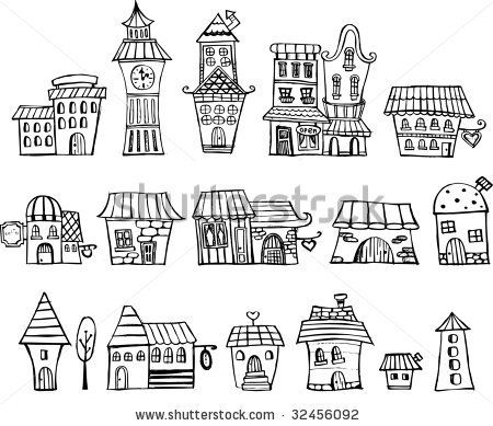 Stock Vector Cartoon Fairy Tale Drawing Houses Series Separate Lodge