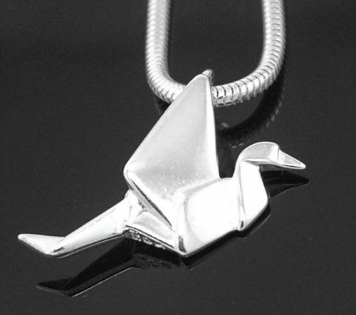 Origami Crane necklace in Sterling Silver.... by Whispering Elms Studio