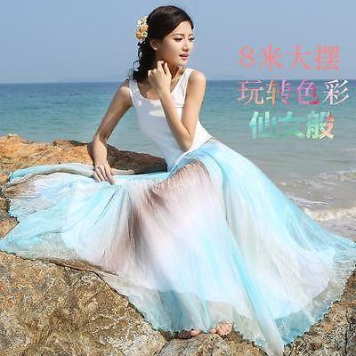 Women Bohemian Elastic Waist Maxi Long Summer Colorful Chiffon Skirt Beach Dress