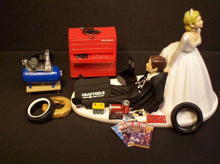 AUTO MECHANIC WEDDING CAKE TOPPER Bride and Groom Set Tire Tool Box Tools FUNNY