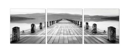 3 Piece Wall Art Print Set - Black & White Jetty